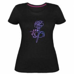 Женская стрейчевая футболка Flowers line bts