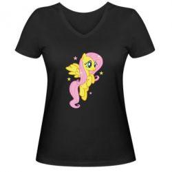Жіноча футболка з V-подібним вирізом Fluttershy - FatLine