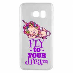 Чохол для Samsung S6 EDGE Fly to your dream and lion