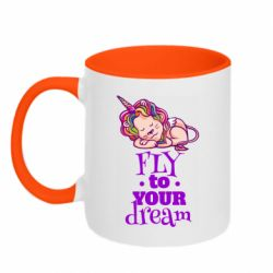 Кружка двоколірна 320ml Fly to your dream and lion