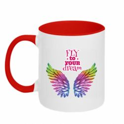 Кружка двоколірна 320ml Fly to your dream
