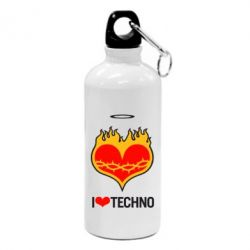Фляга I love Techno logo