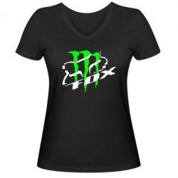 Женская футболка с V-образным вырезом Фокс Енерджи - FatLine