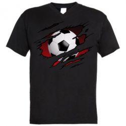 Чоловіча футболка з V-подібним вирізом Football ball  through the T-Shirt