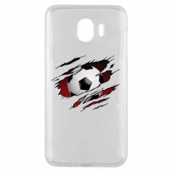 Чохол для Samsung J4 Football ball  through the T-Shirt