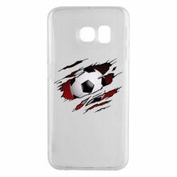 Чохол для Samsung S6 EDGE Football ball  through the T-Shirt