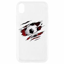 Чохол для iPhone XR Football ball  through the T-Shirt