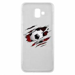 Чохол для Samsung J6 Plus 2018 Football ball  through the T-Shirt