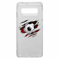 Чохол для Samsung S10+ Football ball  through the T-Shirt