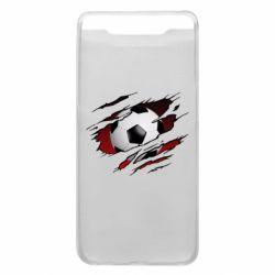 Чохол для Samsung A80 Football ball  through the T-Shirt