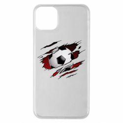 Чохол для iPhone 11 Pro Max Football ball  through the T-Shirt