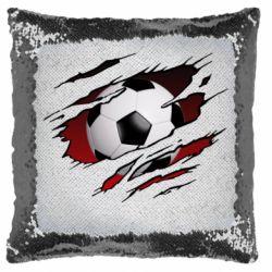 Подушка-хамелеон Football ball  through the T-Shirt