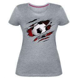 Жіноча стрейчева футболка Football ball  through the T-Shirt