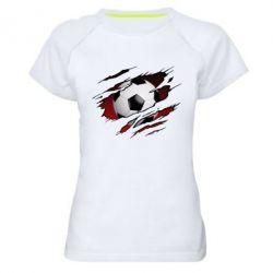 Жіноча спортивна футболка Football ball  through the T-Shirt
