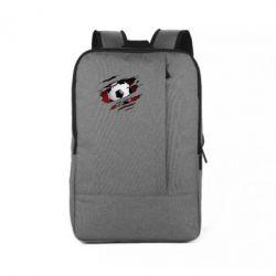 Рюкзак для ноутбука Football ball  through the T-Shirt