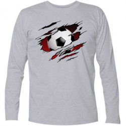 Футболка з довгим рукавом Football ball  through the T-Shirt
