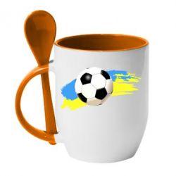 Кружка с керамической ложкой Football of Ukraine