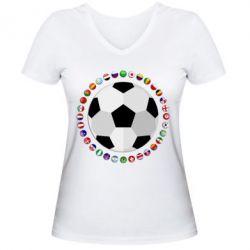 Жіноча футболка з V-подібним вирізом Football
