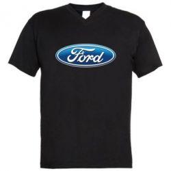 Мужская футболка  с V-образным вырезом Ford 3D Logo - FatLine