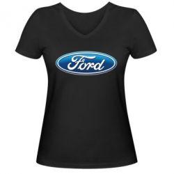 Женская футболка с V-образным вырезом Ford 3D Logo - FatLine