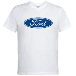 Мужская футболка  с V-образным вырезом Ford Logo