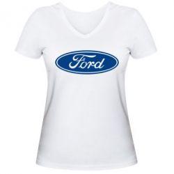 Женская футболка с V-образным вырезом Ford Logo - FatLine