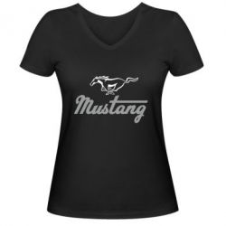 Женская футболка с V-образным вырезом Ford Mustang - FatLine