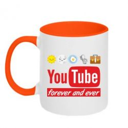 Кружка двоколірна 320ml Forever and ever emoji's life youtube