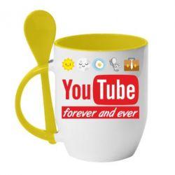 Кружка з керамічною ложкою Forever and ever emoji's life youtube