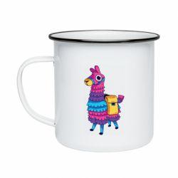 Кружка эмалированная Fortnite colored llama