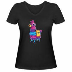 Женская футболка с V-образным вырезом Fortnite colored llama
