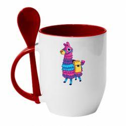 Кружка с керамической ложкой Fortnite colored llama