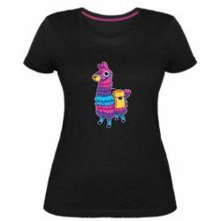 Женская стрейчевая футболка Fortnite colored llama