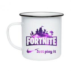Кружка емальована Fortnite just play it