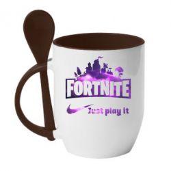Кружка з керамічною ложкою Fortnite just play it