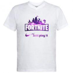 Чоловіча футболка з V-подібним вирізом Fortnite just play it