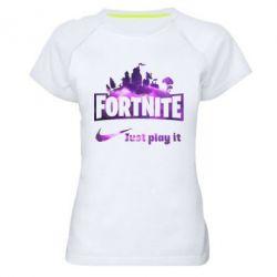 Жіноча спортивна футболка Fortnite just play it