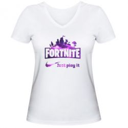 Жіноча футболка з V-подібним вирізом Fortnite just play it