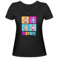 Жіноча футболка з V-подібним вирізом Fortnite Llamas