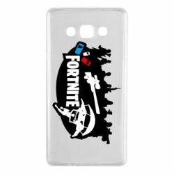 Чехол для Samsung A7 2015 Fortnite logo and heroes