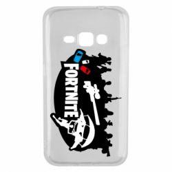 Чехол для Samsung J1 2016 Fortnite logo and heroes