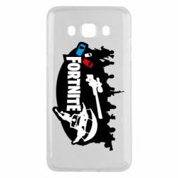 Чехол для Samsung J5 2016 Fortnite logo and heroes