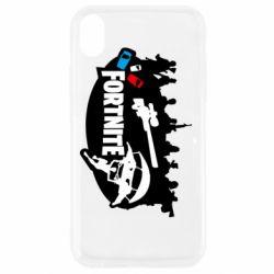 Чехол для iPhone XR Fortnite logo and heroes
