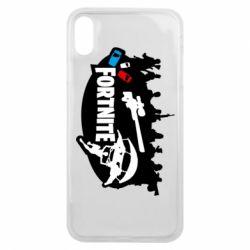 Чехол для iPhone Xs Max Fortnite logo and heroes
