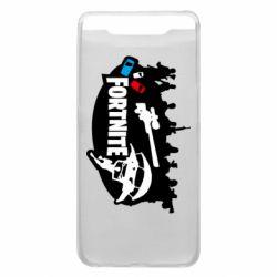 Чехол для Samsung A80 Fortnite logo and heroes