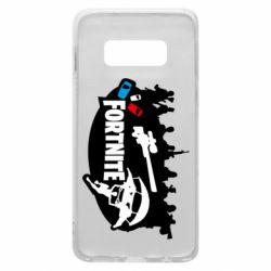 Чехол для Samsung S10e Fortnite logo and heroes