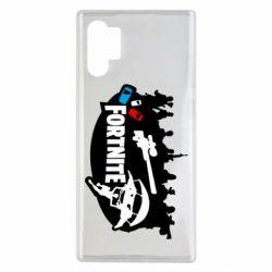 Чехол для Samsung Note 10 Plus Fortnite logo and heroes