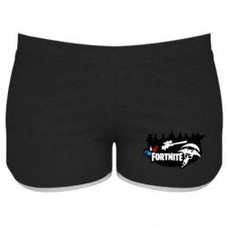 Женские шорты Fortnite logo and heroes