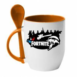 Кружка з керамічною ложкою Fortnite logo and heroes