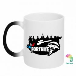 Кружка-хамелеон Fortnite logo and heroes